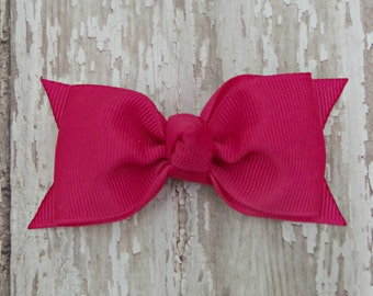 Shocking Pink Tuxedo Style Toddler Hair Bow 3 Inch Alligator Clip Baby Hairbow