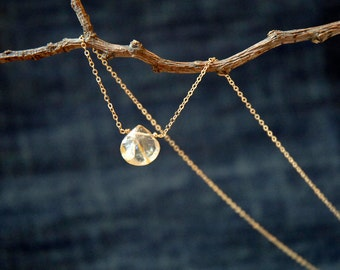 gold rutilated quartz drop necklace - semi precious gemstone - delicate necklace for bridal or everyday, gold necklace, birthday gift