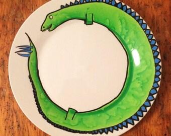 Hand Painted Stegosaurus on Stoneware Dinner Plate. Dinosaurs. Choose the colour!