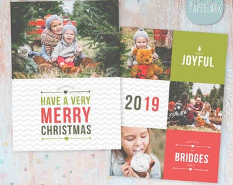 Christmas Card Template - Photoshop template - AC048 - INSTANT DOWNLOAD