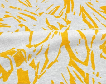 Cotton Knit Fabric, Geometric Lines - Yellow - 59 Inches Wide - By the Yard 89212