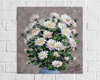 Floral Painting Flower Wall Art Chrysanthemums Acrylic Still Life Paintings On Canvas Beige Green Impasto Flowers Bouquet Painting Original