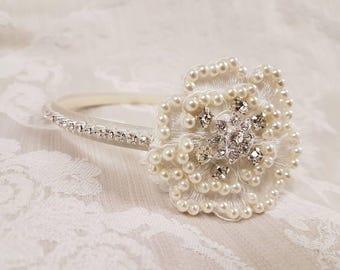 Flowergirl headband,  pearl headband,  wedding tiara,  bridal headband,  wedding hairband, diamante band,  Princess tiara, bridal headpiece