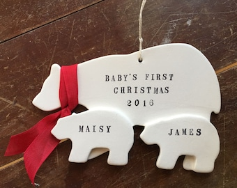 Twins- Baby's First Christmas Ornament- Polar Bear and Two Cubs with your custom names and year white and red by Paloma's Nest