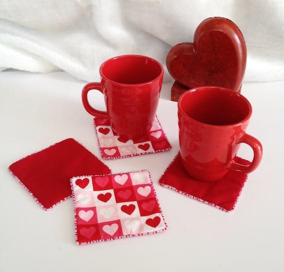 Items Similar To Heart Fabric Coasters