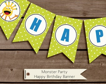 Monster Party Printable Birthday Party Decorations INSTANT DOWNLOAD