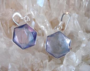 Tanzanite / Lavender Star of David Earrings - set in Sterling Silver - A Grade !