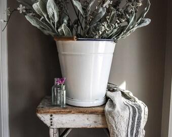 Vintage French Enamel Bucket, White Milk Pail, Planter, Home Decor, Cottage Decor, Farmhouse Decor