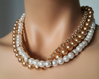 Pearl Necklace, Wedding Necklace, Bridal Jewelry with three multi color strands Paris Lights