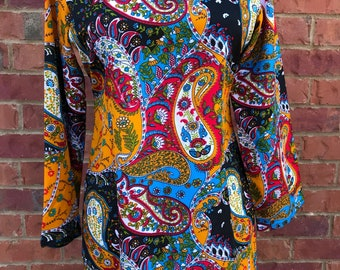 Colorful Paisley Tunic Bohemian Red Orange Turquoise Top Festival Hippie Boho Chic Unique Whimsical Caftan Kaftan