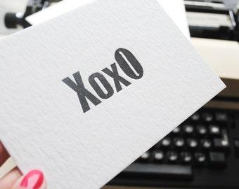 XOXO Letterpress flat cards set of 5pcs. Vintage wood type flat cards. Letterpress love cards. Letterpress stationery