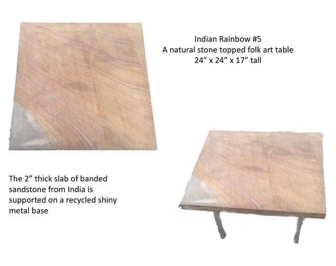"""Indian Rainbow #5: A x24"""" square 17"""" tall natural Indian rainbow sandstone on a recycled base"""