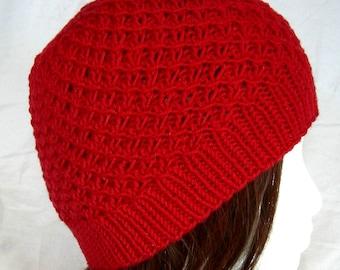 Lipstick Red merino crosshatch pattern hat hand knit winter beanie