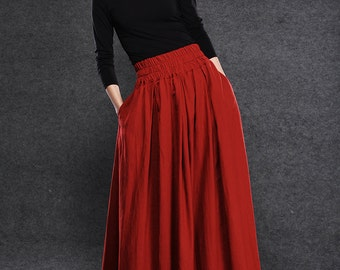 Red Linen Maxi Skirt, linen skirt, long linen skirt, skirt with pockets, natural linen skirt, linen summer skirt, elastic waist skirt C054