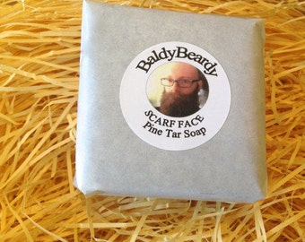 Pine Tar beard soap. Scarf Face soap. Relieves dandruff and itch. Men's beard cleaning products. Man soap. Real tar soap by BaldyBeardy