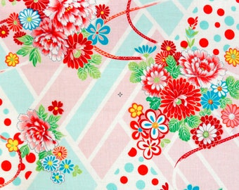 Japanese fabric by the half yard, flower fabric, japanese floral print ume blossom hana, cherry blossom