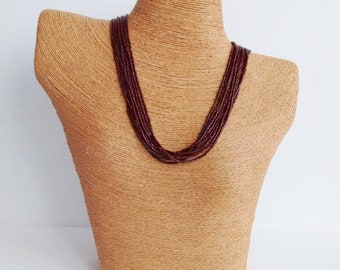 Statement necklace boho necklace brown necklace,bridesmaid necklace, multi strand necklace, wedding jewelry,maroon necklace,beaded necklace