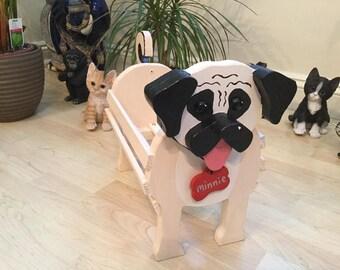 PUG,wooden,dog,garden,planter,ornament,decoration,custom,made,name,tag,