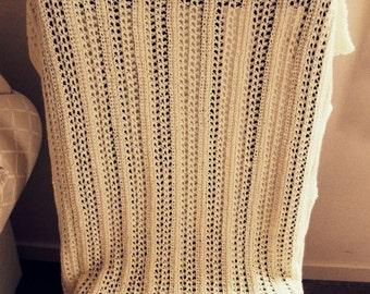 Download Now - CROCHET PATTERN Lacy Lattice Baby Blanket - Knit-Look Crochet - Pattern PDF