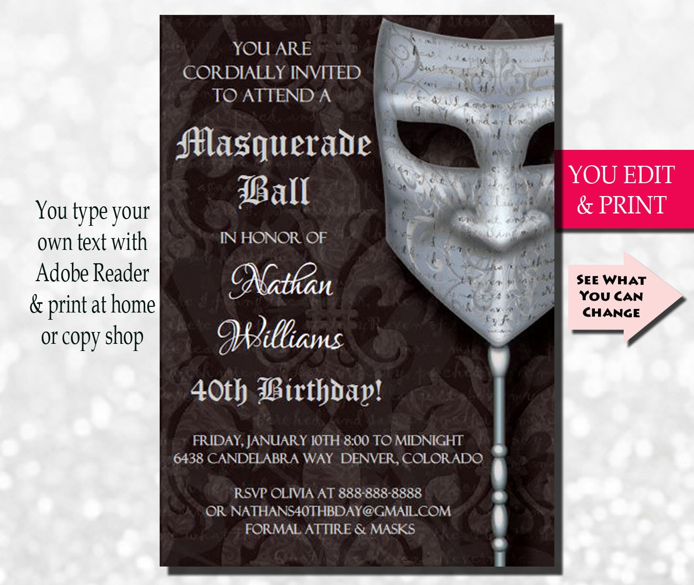 40th Birthday Invitation Men S 40th Birthday Invitation