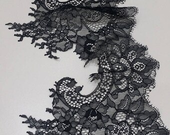 Black lace Trim, Chantilly Lace, French Lace, Wedding Lace, Scalloped lace Eyelash lace Floral Lace Lingerie Lace by the yard EVSL039C_1