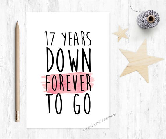 Gift For 17th Wedding Anniversary: 17th Anniversary Card 17th Wedding Anniversary Card 17 Years