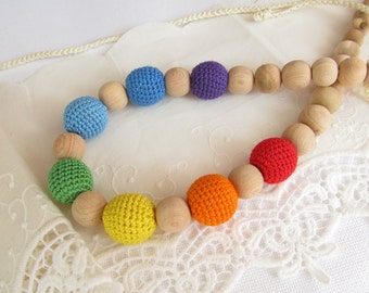 Bright Rainbow Nursing Necklace Crochet Breastfeeding Jewelry Teething Necklace Baby Shower Gift Cotton Toy Wooden Bead Mommy Necklace