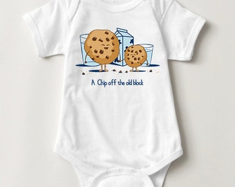 Chip Off the Old Block Infant One Piece Baby Bodysuit   Cute Chocolate Chip Cookie T-shirt   kids clothing   Cute Kawaii   Milk and Cookies