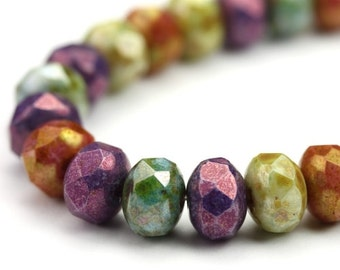 Czech Glass Beads Fire Polished Gemstone Donuts 9x6mm Luster Picasso Mix (12) CZF713