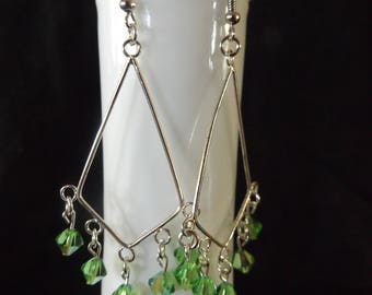 Silver Chandelier Drop Earrings with Green Accents
