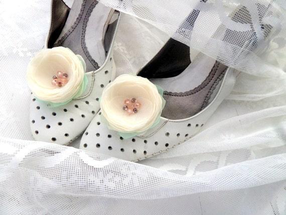 Schuh-Clips Schuhclips Elfenbein weiß Elfenbein Blumen
