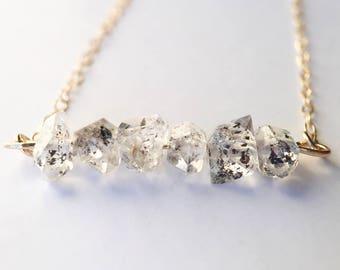 Bar Necklace Herkimer Diamond Delicate 14K Gold Filled