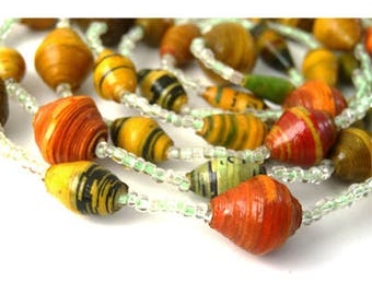 Bead Necklace, Green, Orange, Yellow, Brown, Summer Jewelry, Jewelry Necklace, Gift for Her, Simple Necklace, Eco Jewelry