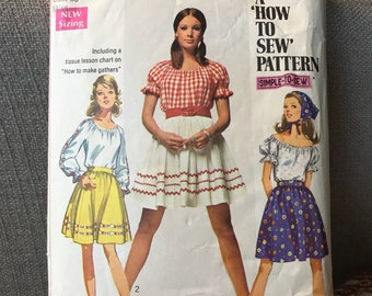 Vintage 70s Simplicity 8015 Blouse and Skirt Pattern- Size 14 (36-27-38)