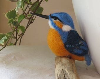 Kingfisher hand stitched felted wool.