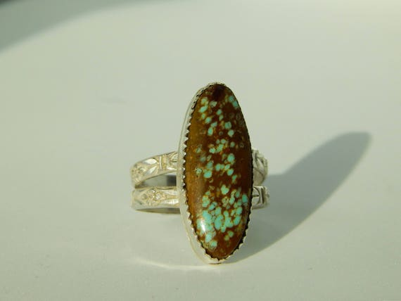 Ophelia, Number 8 Mine Turquoise with a Flower Double Band, Size 7
