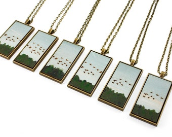 Painted Landscape Pendant - Birds Flying South (Original Painting Section in Brass Rectangle Setting)