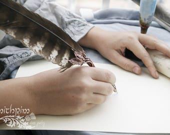 Fantasy feather pen, Calligraphy, Feather Writing Pen, wedding pen, College of Wizardry, Ballpoint Feather Writing Pen Hogwarts LARP pen