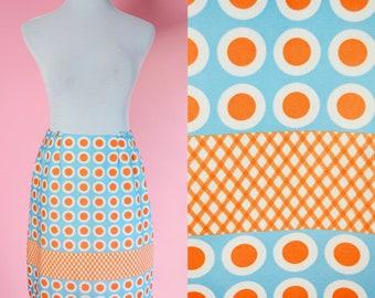 Mod 60s Skort, Vintage Shorts, Skirt // David Smith, Blue, Orange, Mid Century, 1960s, Women Size Small Medium