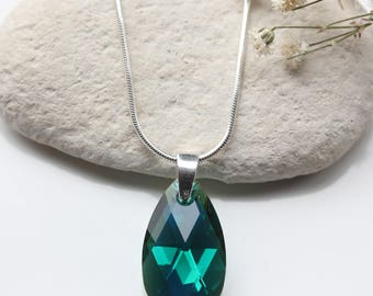 Emerald Necklace - Swarovski Emerald Crystal Sterling Silver Necklace  - Swarovski May Birthstone Necklace - Swarovski  Necklace  - B49