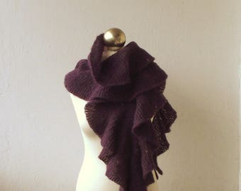 Purple Plum hand knitted alpaca and silk scarf with flounces