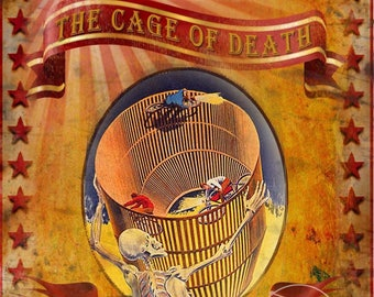 Cassidy's Family Circus Show The Cage Of Death Vintage Retro Metal Sign Home Decor Mancave Choose Your Own Size