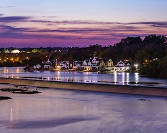 Boathouse Row Philadelphia Sunset Panorama, Philadelphia photo, Philadelphia skyline, Boathouse Row Philly Sunset, Boathouse Lights Photo