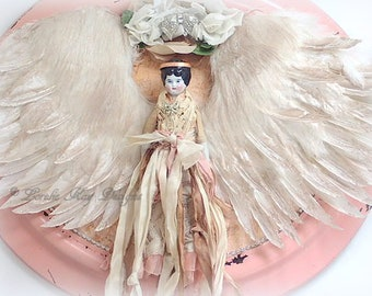 Large Framed Angel Assemblage Picture Large Romantic Cottage Shabby Decor China Doll Picture Framed Mixed Media Collage