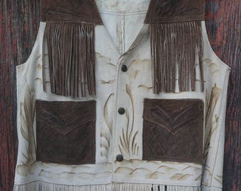 Vintage Leather Fringe Vest Medium
