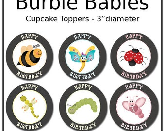 """Digital Burble Babies Cupcake Toppers - 3"""" Diameter - Download - Personal - Commercial - Birthday - Party"""