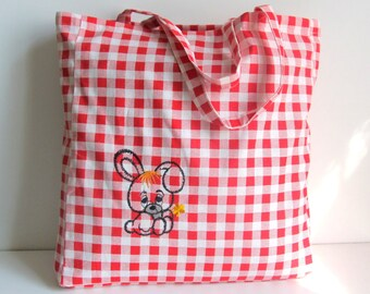 FREE SHIPPING Embroidered Tote Bag, 100% Cotton, Red and White Squares, Grocery Reusable Bag, Eco-friendly Natural Beach Tote Bag