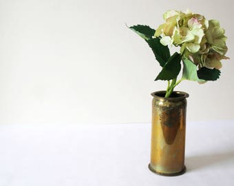 WW1 Trench Art Vase - Antique German 'Patronenfabrik Karlsruhe' Brass Shell Casing from 1915 made into a beautiful etched vase