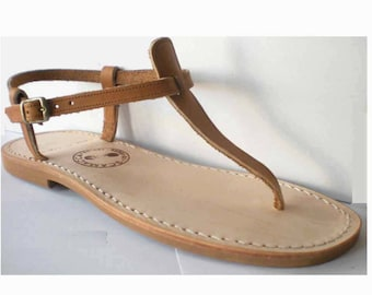 Between finger woman leather natural sandal made in France