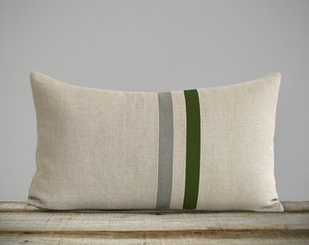 Striped Lumbar Pillow Cover with Cypress Green and Grey Stripes by JillianReneDecor (12x20) Modern Fall Home Decor - Dark Olive - FW2015